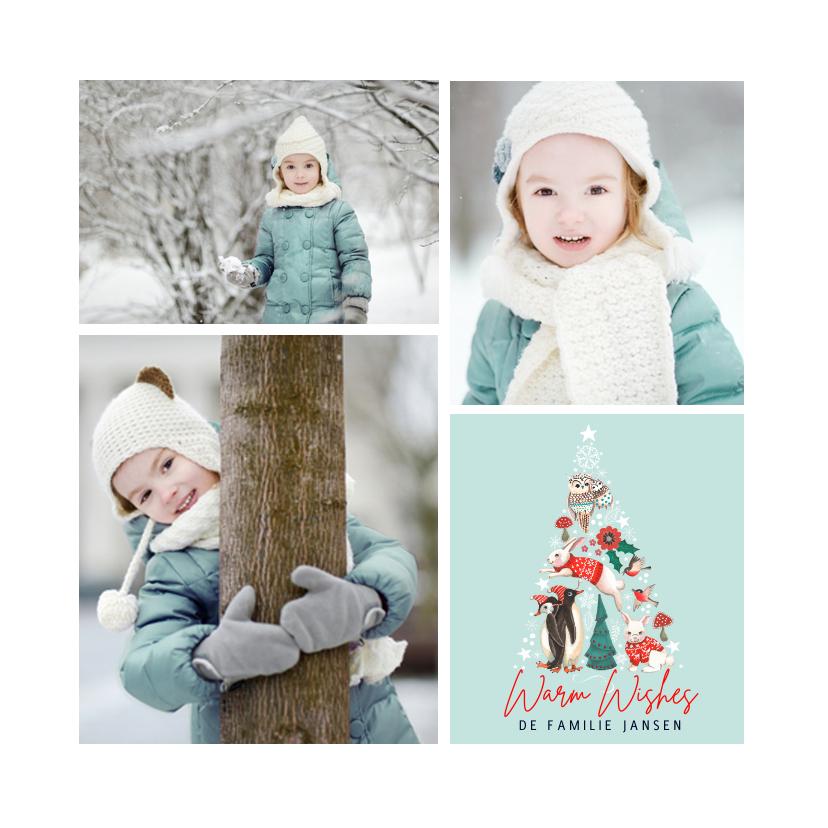 Kerstkaarten - Fotocollage Kerstboom dieren