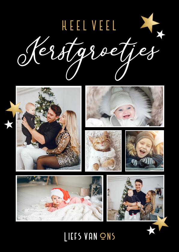 Kerstkaarten - Fotocollage kerstkaart heel veel kerstgroetjes van ons
