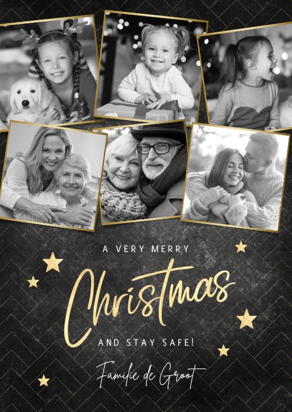 Kerstkaarten - Fotocollage kerstkaart merry christmas met gouden sterren