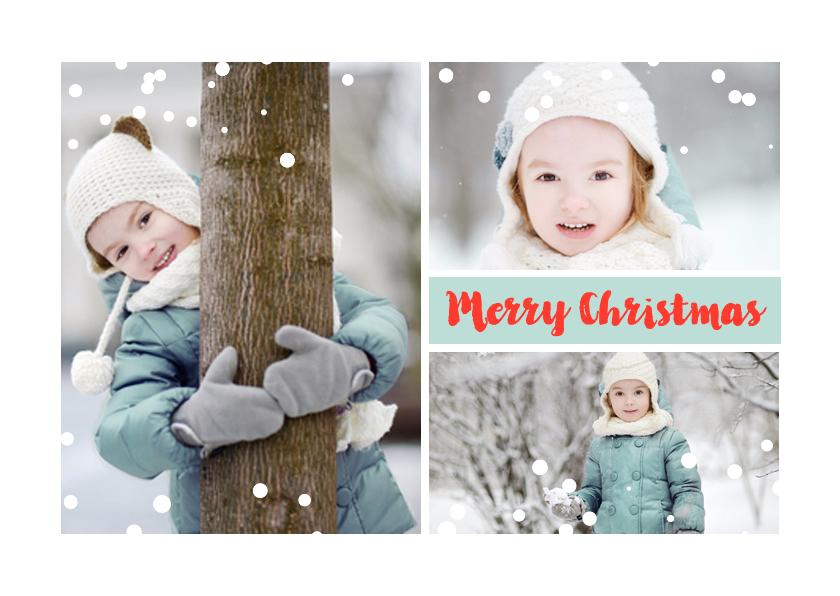 Kerstkaarten - Fotocollage met sneeuw stippen