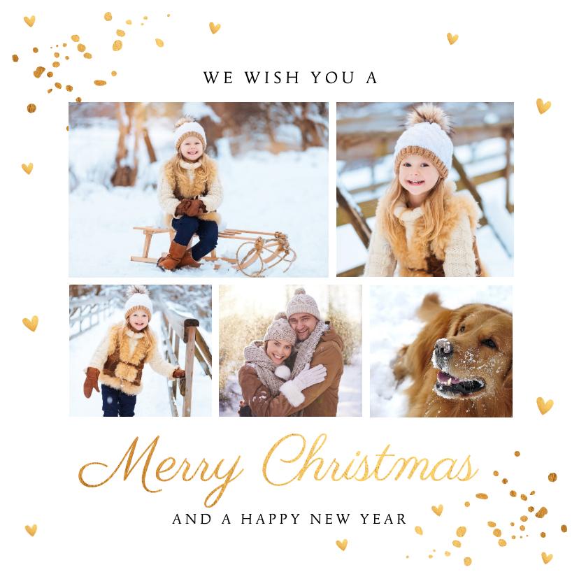 Kerstkaarten - Fotocollage wit goud confetti kerstkaart