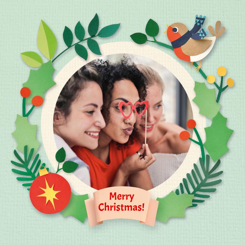 Kerstkaarten - Fotokaart met kerstrand en roodborstje