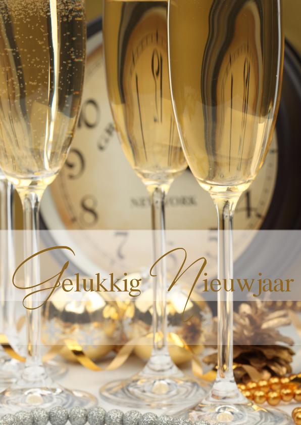 Kerstkaarten - Gelukkig nieuwjaar Champagne