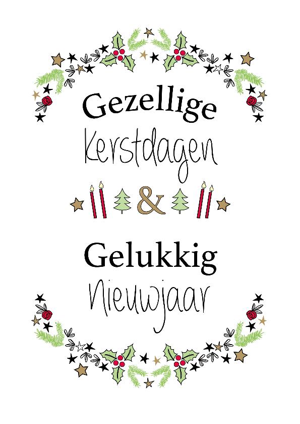 Kerstkaarten - Gezellige kerstdagen & Gelukkig nieuwjaar witte achtergrond