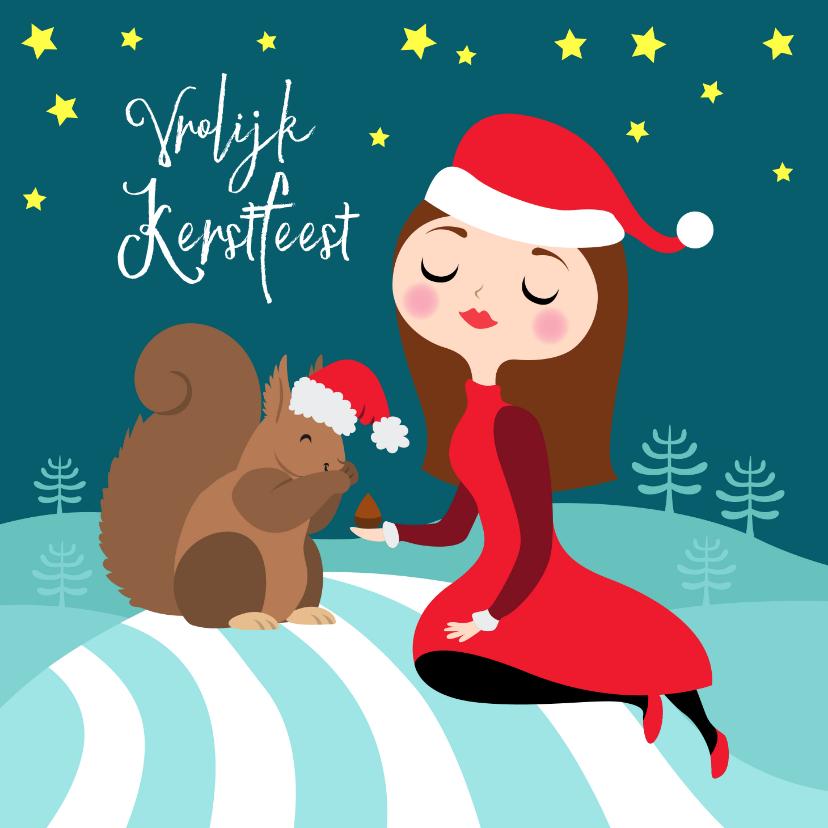 Kerstkaarten - Gezellige kerstkaart met meisje en eekhoorn