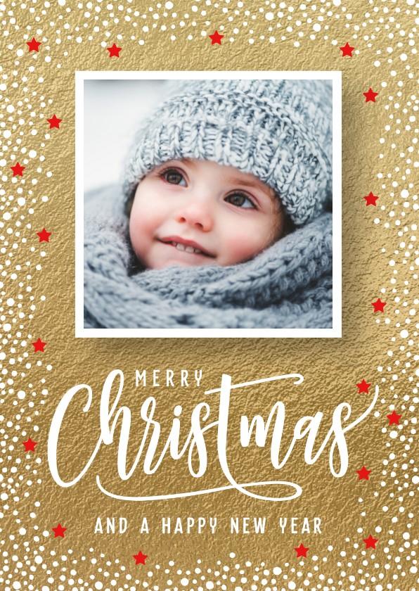Kerstkaarten - Gouden kerstkaart foto
