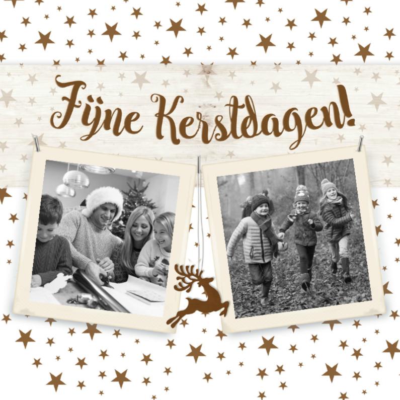 Kerstkaarten - Gouden sterren met polaroid-isf
