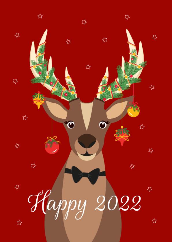 Kerstkaarten - Grappig en lieve Rudolf wenst jullie een fijn en happy 2022