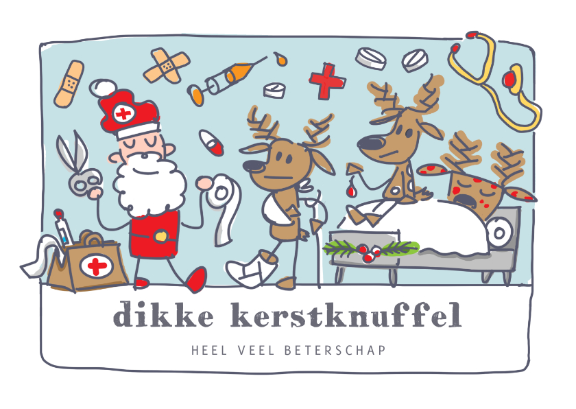 Kerstkaarten - Grappige beterschap kerstkaart met kerstman als dokter