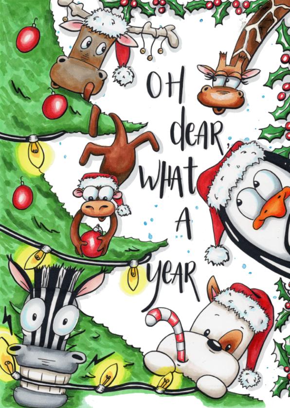Kerstkaarten - Grappige geïllustreerde kerstkaart oh dear, what a year