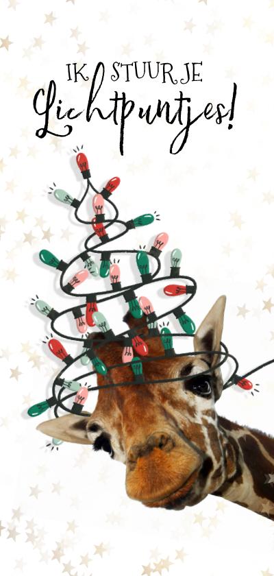 Kerstkaarten - Grappige giraf met kerstboom van lichtpuntjes kerstkaart