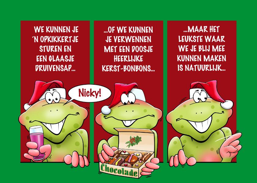 Kerstkaarten - Grappige kaart met kikkers, die je fijne kerstdagen wensen