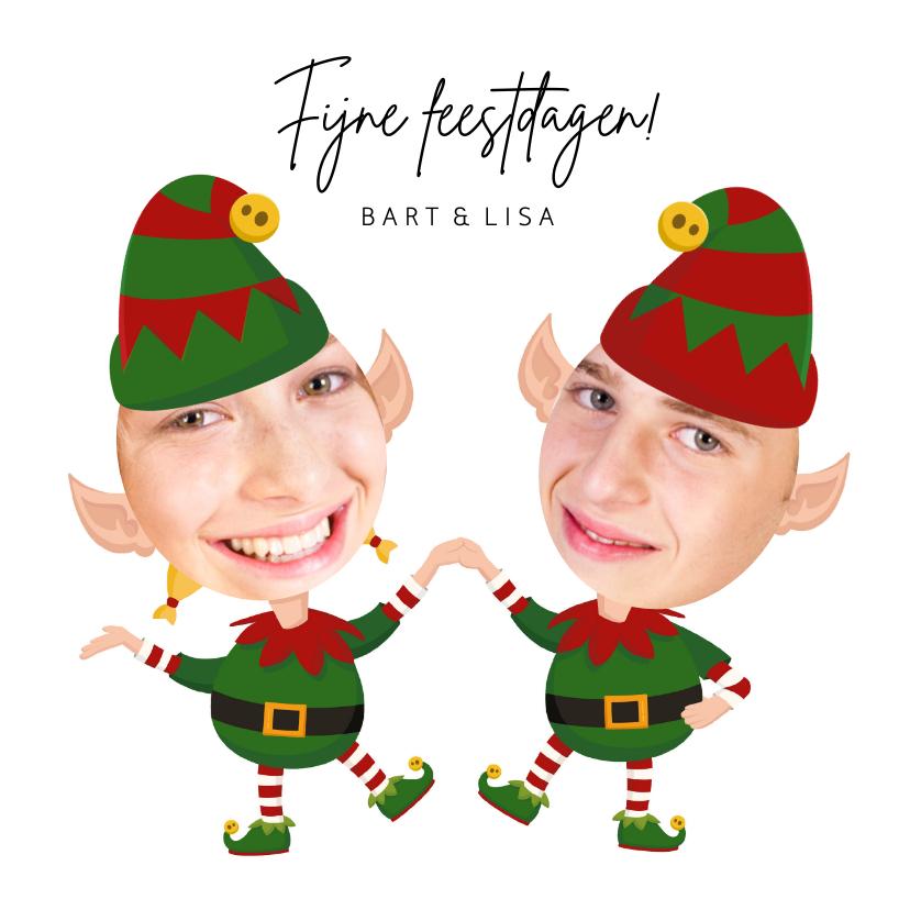 Kerstkaarten - Grappige kerstkaart - Maak een Elf van jezelf - 2 personen