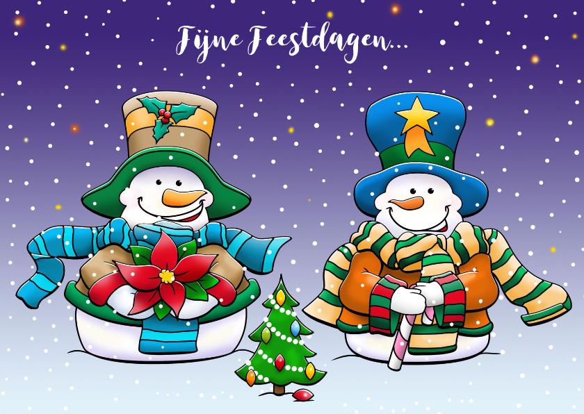 Kerstkaarten - Grappige kerstkaart met 2 warm geklede sneeuwpoppen