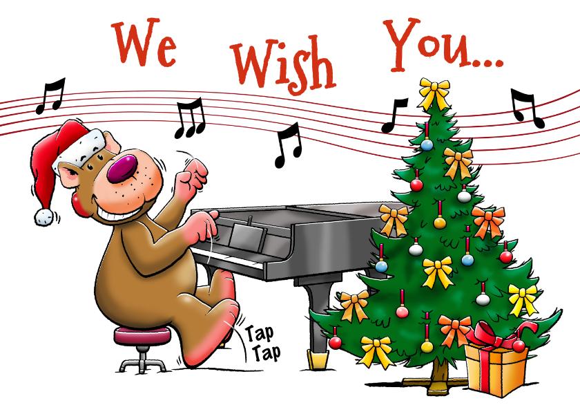 Kerstkaarten - Grappige kerstkaart met beertjes die muziek maken