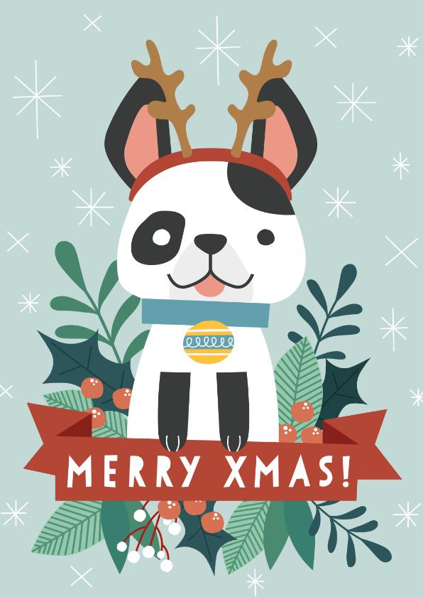 Kerstkaarten - Grappige kerstkaart met illustratie van hondje en takjes