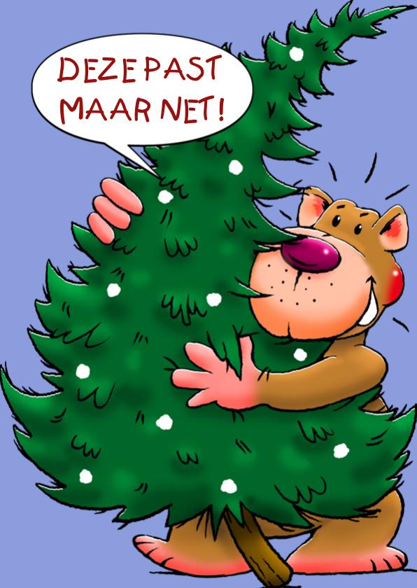 Kerstkaarten - Grappige kerstkaart met leuke beer en kerstboom