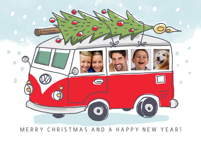 Kerstkaarten - Grappige kerstkaart met volkswagenbusje en foto's