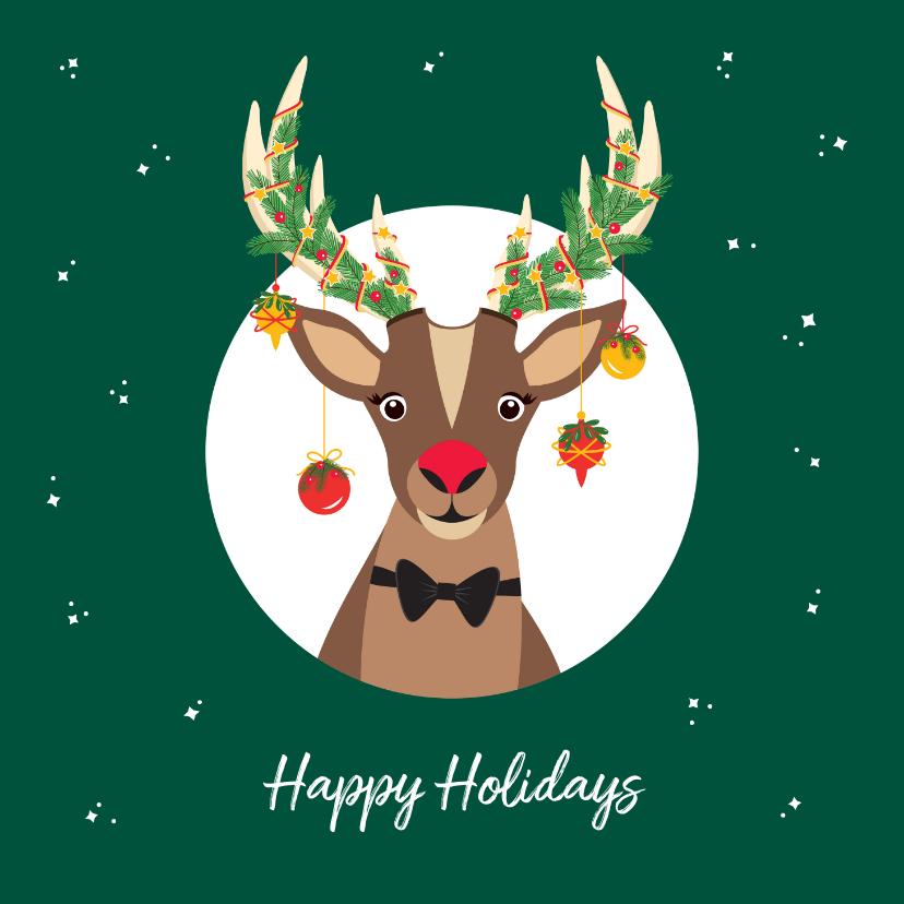 Kerstkaarten - Grappige Rudolf het Rendier wenst je een fijne feestdagen