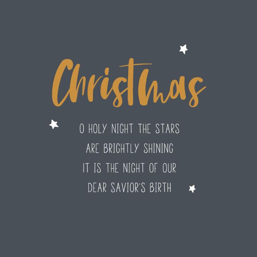 Kerstkaarten - Grijze christelijke kerstkaart met gele letters en tekst