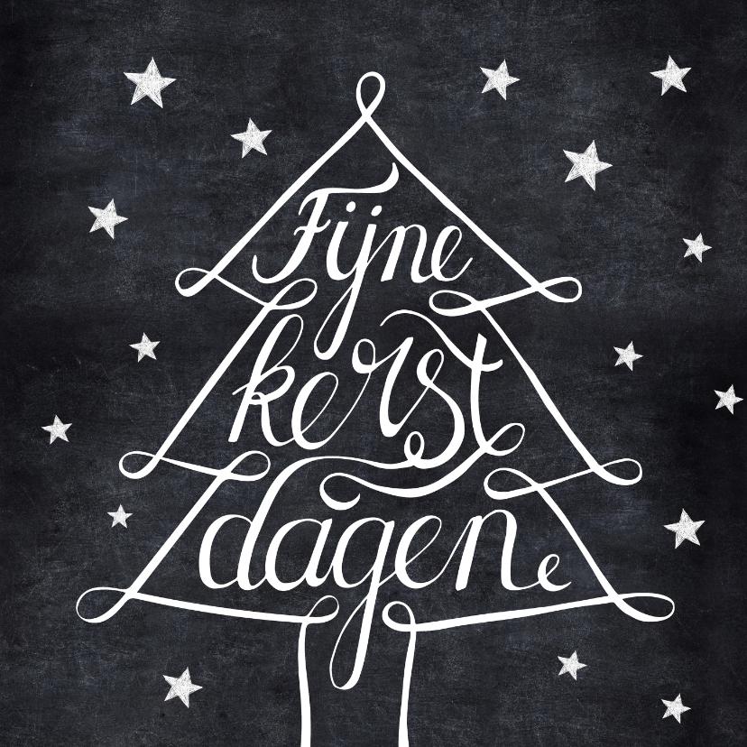 Kerstkaarten - Handlettering kerstkaart zwartwit kerstboom