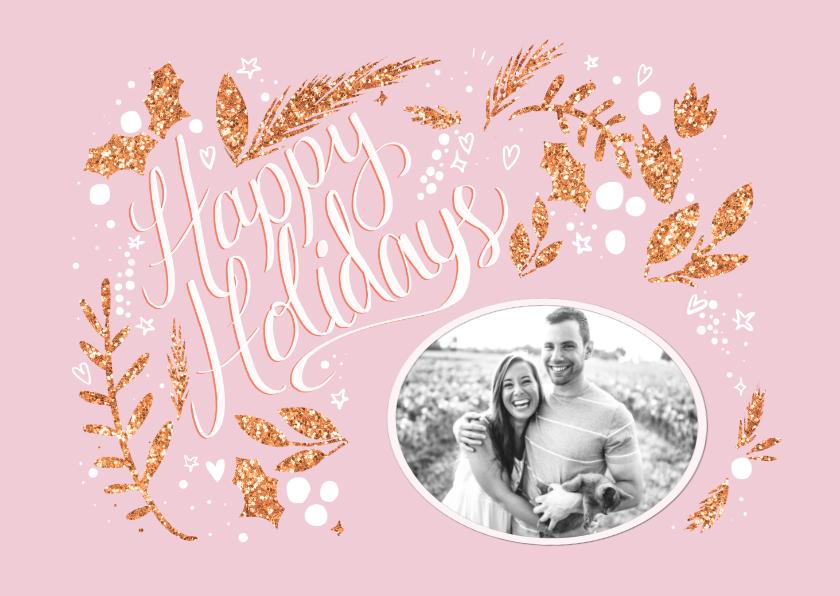 Kerstkaarten - Happy Holidays roze met foto