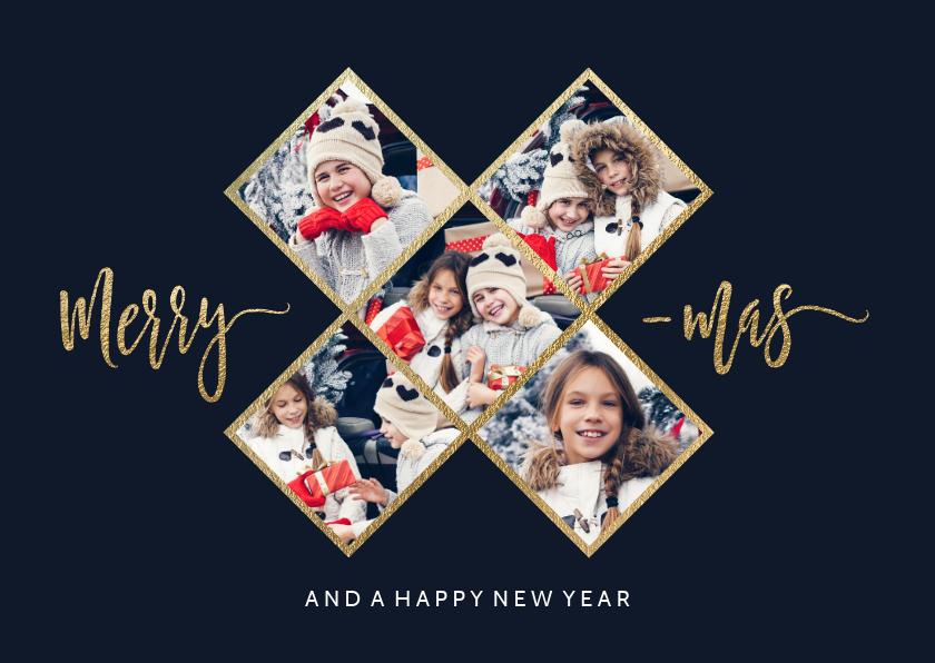 Kerstkaarten - Hippe fotocollage kerstkaart met 5 fotos gouden X