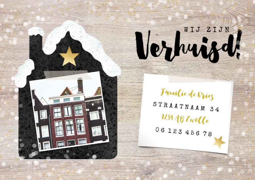 Kerstkaarten - Hippe Kerst-verhuiskaart met huisje met sneeuw, foto en hout