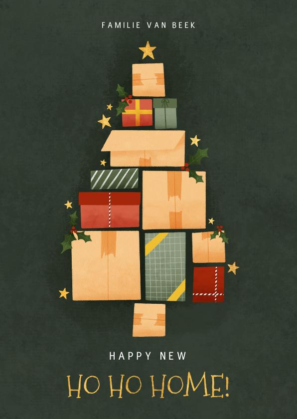 Kerstkaarten - Hippe kerst verhuiskaart met kerstboom van dozen en sterren