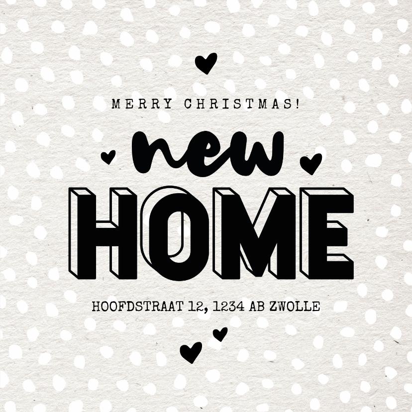 Kerstkaarten - Hippe kerst verhuiskaart new home hartjes en sneeuw
