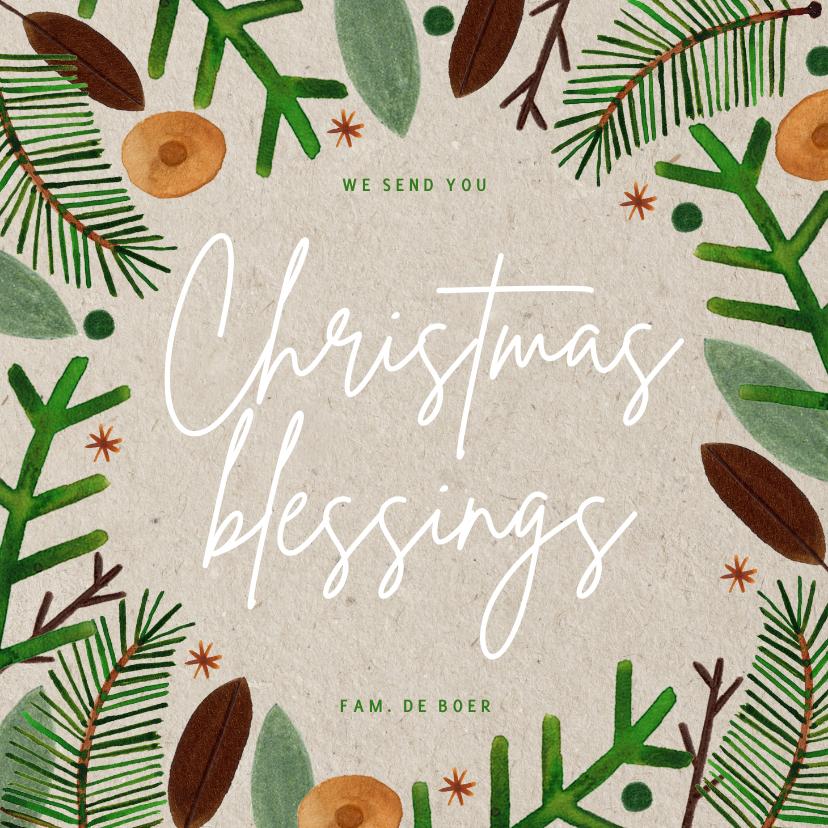 Kerstkaarten - Hippe kerstkaart Christmas Blessings groene takjes op papier