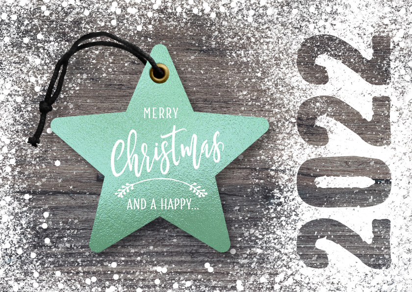 Kerstkaarten - Hippe kerstkaart kerst ster op hout mint groen
