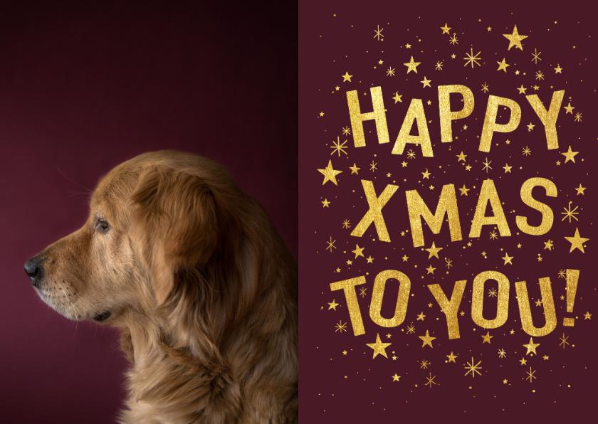 Kerstkaarten - Hippe kerstkaart met gouden typografie, sterren en foto