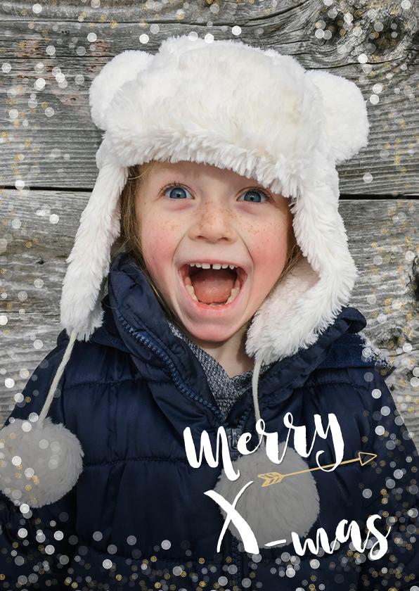 Kerstkaarten - Hippe kerstkaart met grote eigen foto en confetti kader