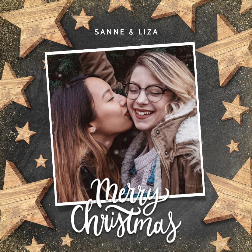 Kerstkaarten - Hippe kerstkaart met houten sterren, foto en Merry Christmas