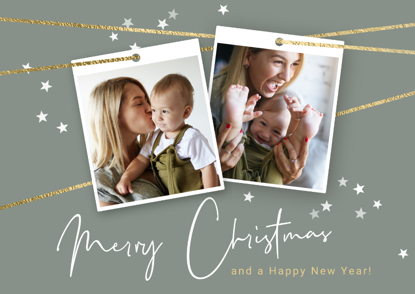 Kerstkaarten - Hippe kerstkaart met koord en twee foto's