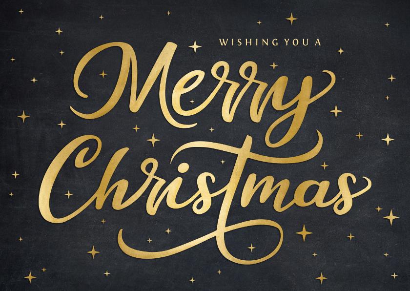 Kerstkaarten - Hippe kerstkaart met sierlijke gouden tekst merry christmas