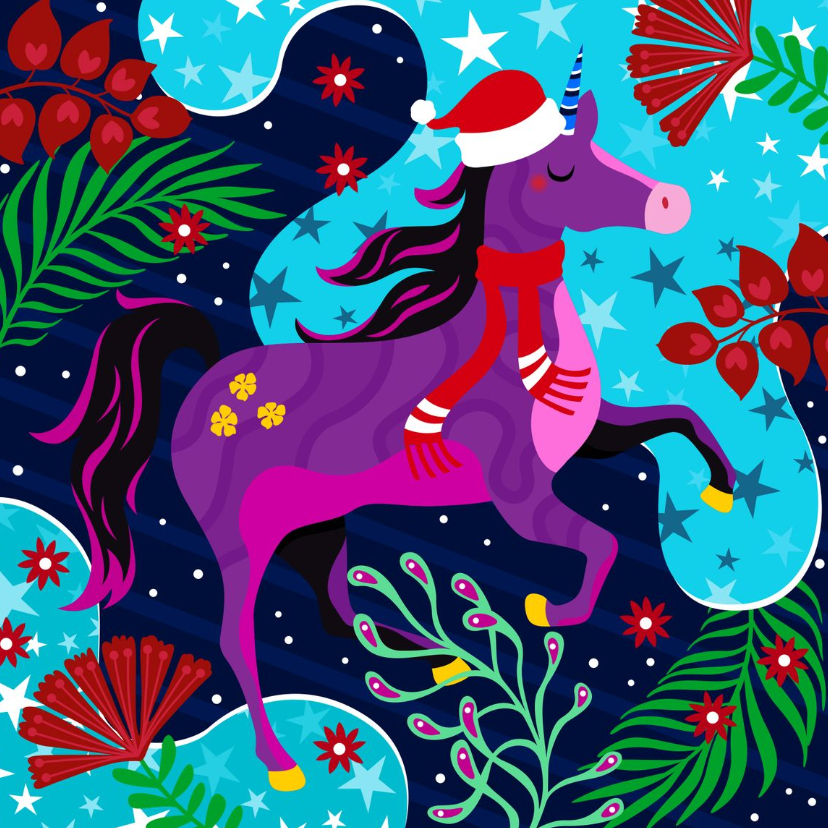 Kerstkaarten - Hippe kerstkaart met unicorn
