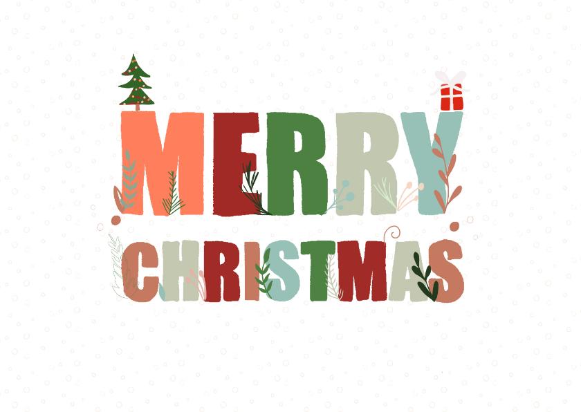 Kerstkaarten - Hippe kerstkaart met versierde tekst Merry Christmas