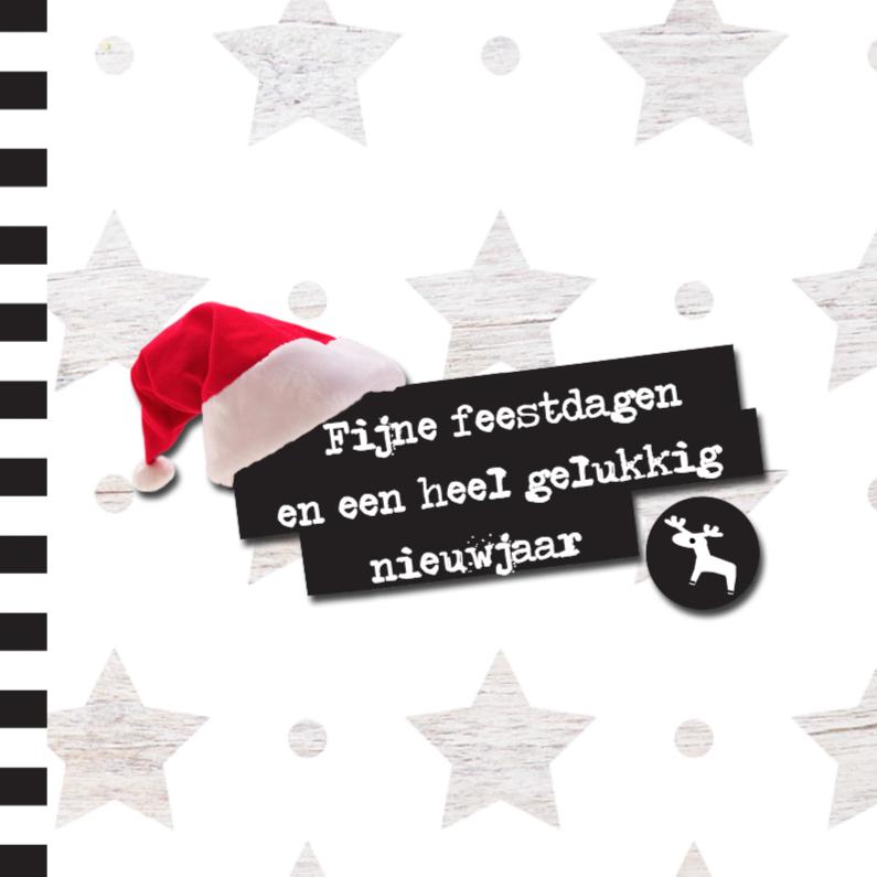 Kerstkaarten - Hippe Kerstkaart Sterren en Kerstmuts
