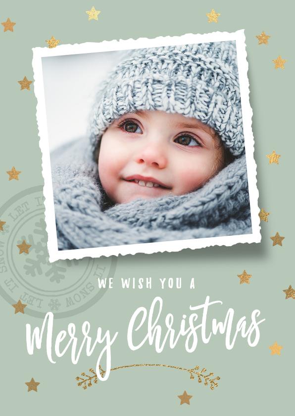 Kerstkaarten - Hippe kerstkaart sterren foto