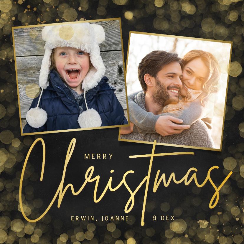 Kerstkaarten - Hippe zwarte kerstkaart met gouden Christmas en 2 foto's
