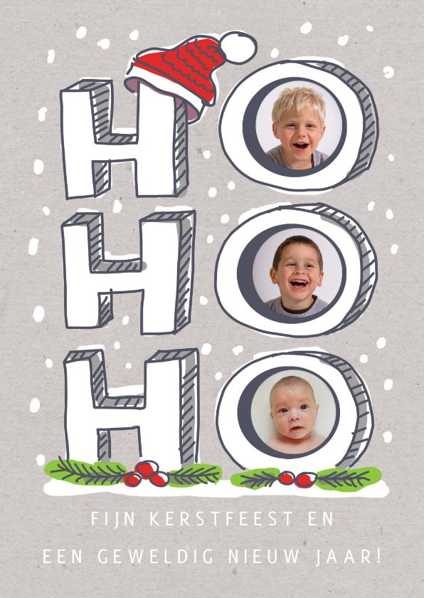 Kerstkaarten - Ho ho ho kerstkaart met foto's in de letters en kerstmuts