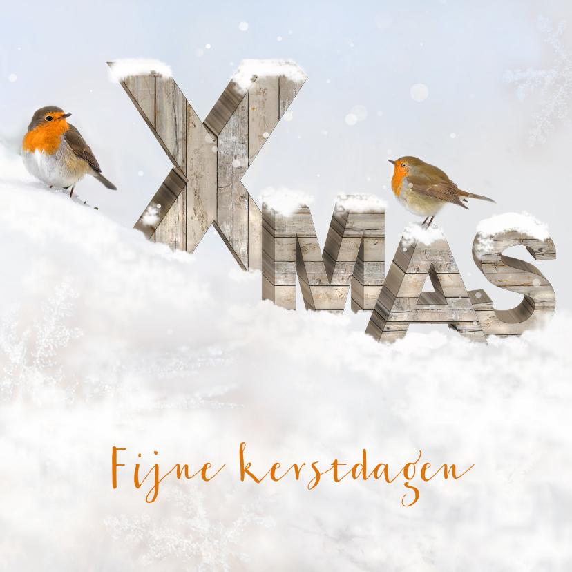Kerstkaarten - Houten letters Xmas kerstkaart