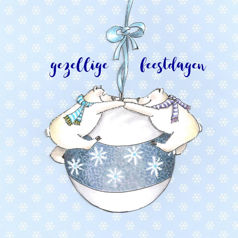 Kerstkaarten - ijsberen met kerstbal II