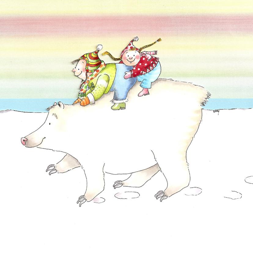 Kerstkaarten - Jan en Jitka op de ijsbeer