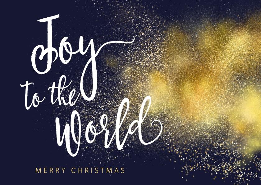 Kerstkaarten - Joy to the World goud christelijke kerstkaart