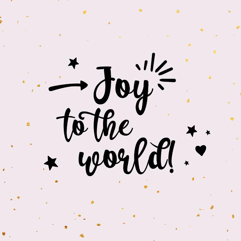 Kerstkaarten - Joy to the world - zwart en goud - kerstkaart