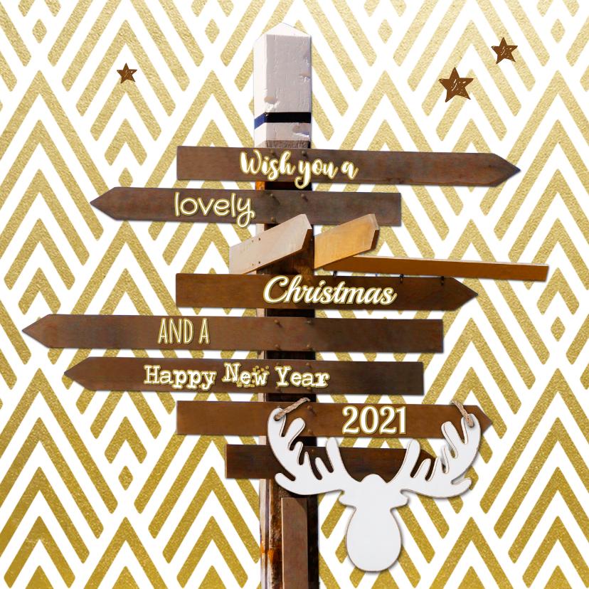 Kerstkaarten - Kerskaart hippe wegwijzer hout strepen goud