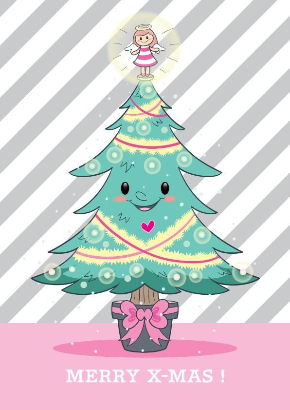 Kerstkaarten - Kerskaart kerstboom met gezichtje en engeltjespiek